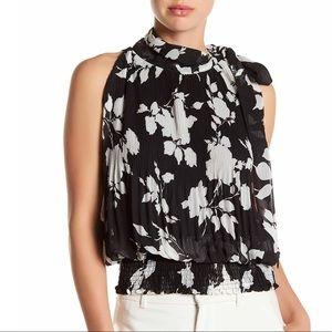 Gracia Tops - Mock necktie print blouse